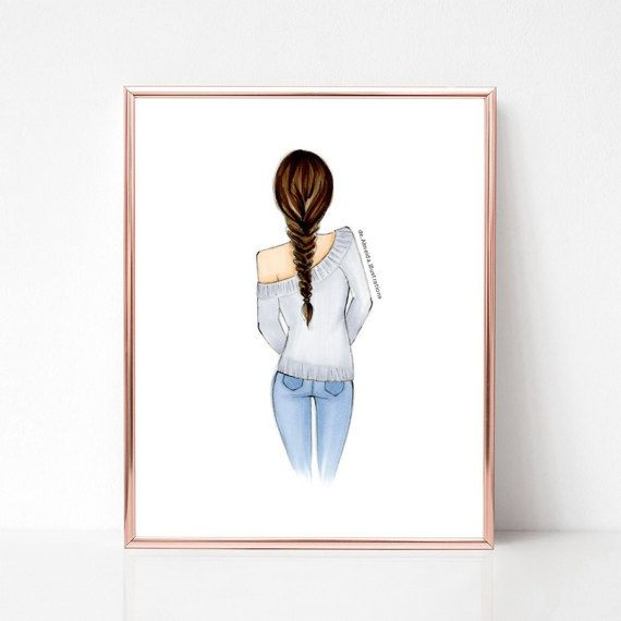 Slouchy sweaters and fishtail braids, fashion illustration print, art print, sketch, croquis,