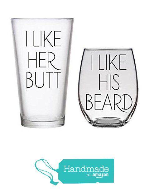 I Like Her Butt, I Like His Beard Wine Beer Whiskey Glass Wedding Gift Engagement Housewarming Bride Groom Bridal Shower Present from Kris Gets Crafty https://www.amazon.com/dp/B01MXQZP09/ref=hnd_sw_r_pi_dp_NMDqybW45615J #handmadeatamazon