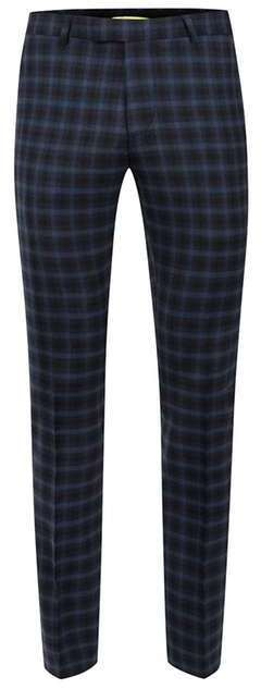 NOOSE & MONKEY Navy and Blue Check Suit Pants