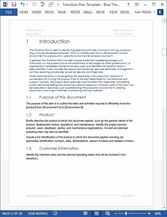 Project Transition Plan Template In 2020 How To Plan Word