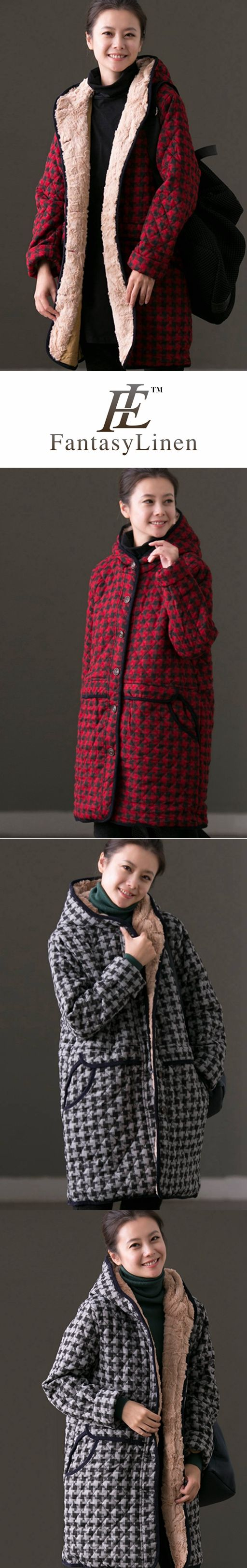 RED GRID HOODIE WARM WINTER COAT FOR WOMEN W6323B