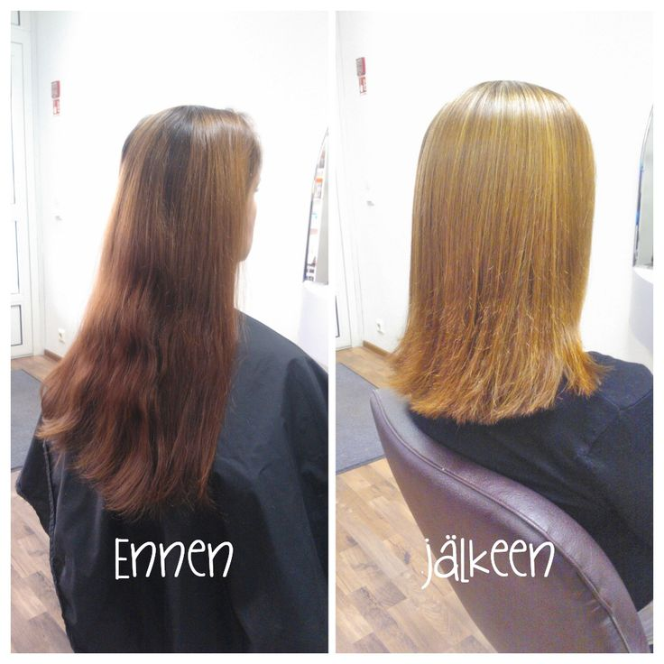 Before and after haircut and highlights. Hair by Emmi/Parturi-kampaamo Salon Maria Seinäjoki
