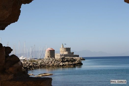 The lighthouse on the fortress of St. Nicholas, Rhodes. Phil & Anne.