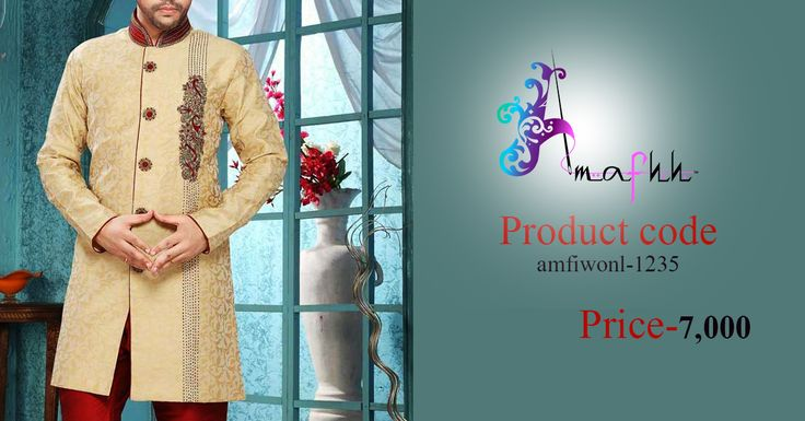Beige Party Jacquard Indowestern Sherwani Become all rage in this creaminess beige shade jacquard  Indowestern sherwani. Subtle jacquard patterns and embellished motifs form the quintessence of the attire.Look utmost handsome when have this complete look on wedding parties function.