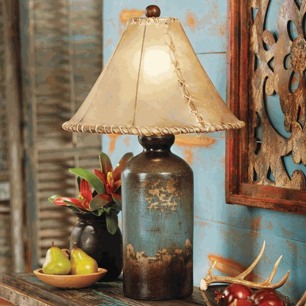 Turquoise Pottery Table Lamp with Rawhide Shade