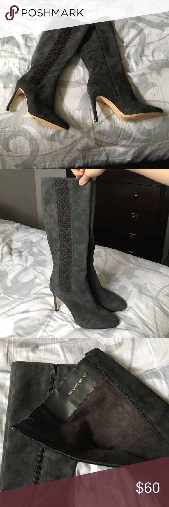 NWOT Antonio Melani Grey leather boots NWOT Antonio Melani Grey leather boots sit just below the knee. 4 inch heel. Side zip closure. Size 10 fits true to size. Beautiful design on side of boot. Any questions please ask! ANTONIO MELANI Shoes Heeled Boots