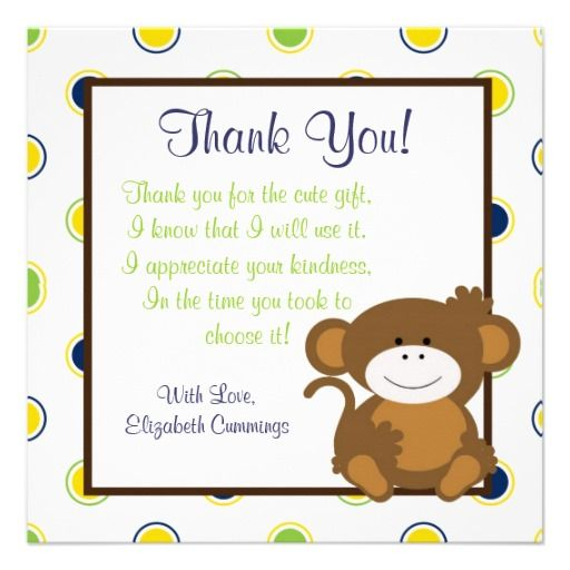 baby saying thank you monkey baby shower invite cute fun thank you
