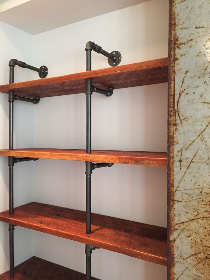 pipe and reclaimed wood pantry shelving decor. Black Bedroom Furniture Sets. Home Design Ideas