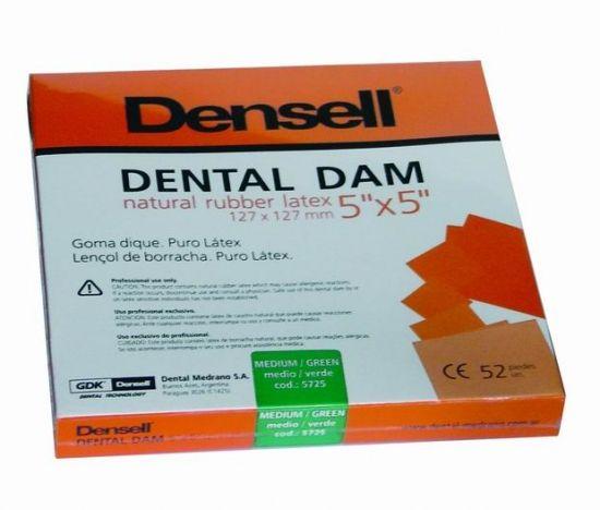 DENTAL DAM DENSELL Goma dique para la aislación de la pieza dental. Trabajo efectivo y seguro. Incrementa la eficacia del trabajo y ahorra tiempo. Mayor protección para pacientes y profesionales. Condiciones de trabajo asépticas. Protege al tejido blando. Sirve para el control de hemorragias. Mayor visibilidad del campo operatorio. GOMA DIQUE 5x5, 52 unidades - Cod 5725. GOMA DIQUE 6x6, 36 unidades - Cod 5726
