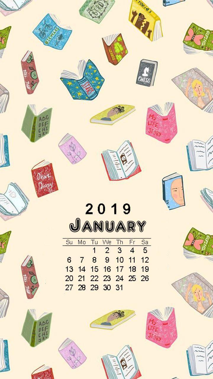January 2019 Book It Calendar phone wallpaper   January 2019 calendar on bookish background