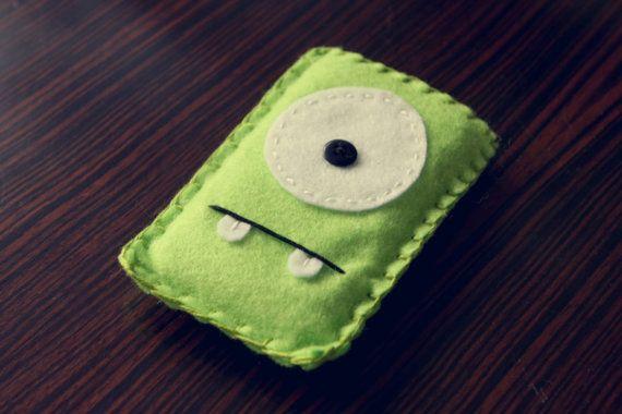 Felt Monster Phone or iPod Sock/Cover by BABUA  Green by babua, $10.00