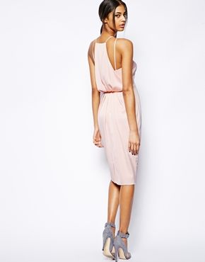 ASOS Midi Dress With Drape Back Pencil