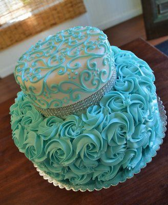 rosettes, bling, scroll, bridal shower, birthday, cake, Tiffany blue cake