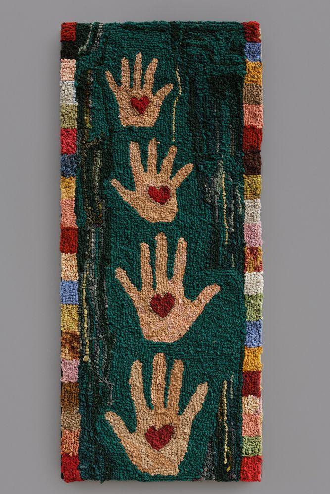 HEART IN HAND HOOKED RUG/ Artist Unidentified, United States, Mid Twentieth  Century