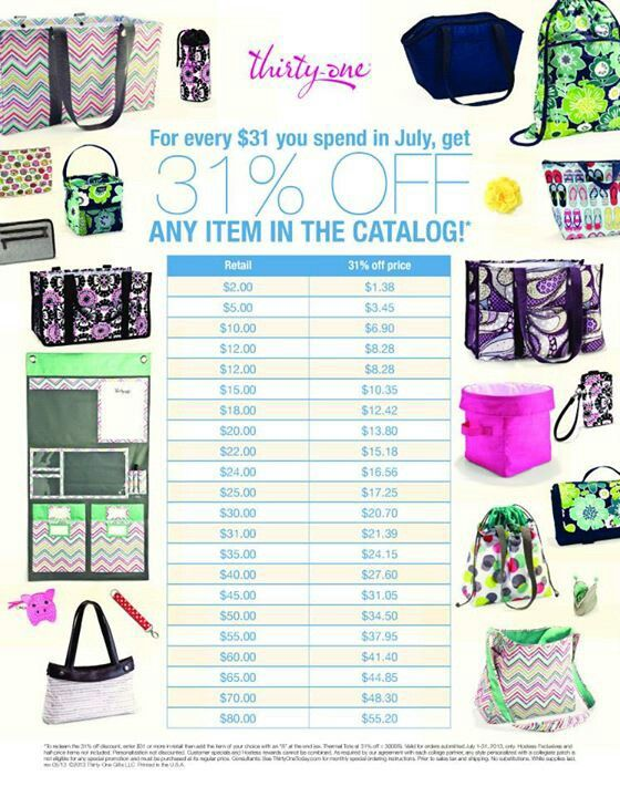 July 2013 Customer Special! Book a Party on Line or have it Shipped to your Home.  www.mythirtyone.com/tonyacraft  Thanks!