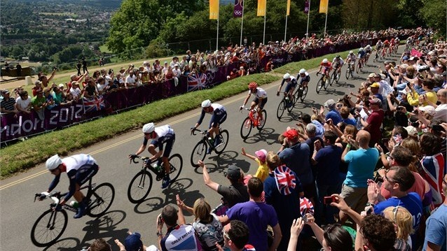 David Millar, Bradley Wiggins, Ian Stannard of Great Britain, Tony Martin of Germany, Christopher Froome and Mark Cavendish of Great Britain make their way up the climb of Box Hill during the Men's Road Race Road Cycling on Day 1 of the London 2012 Olympic Games on 28 July.