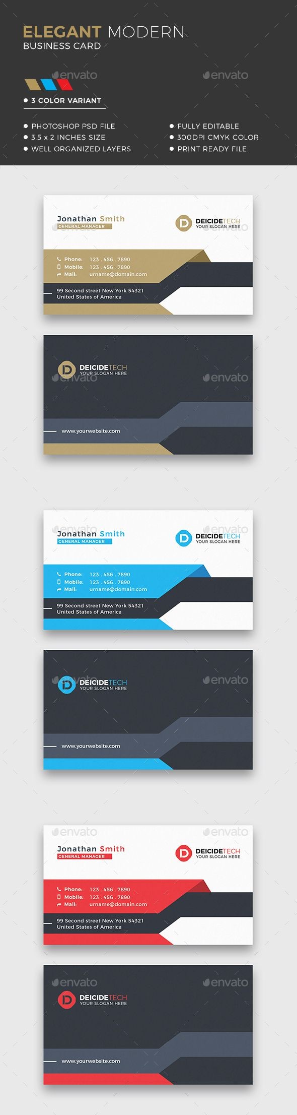 Business card design suitable for companies or personal use. Download here: https://graphicriver.net/item/corporate-business-card/20065359
