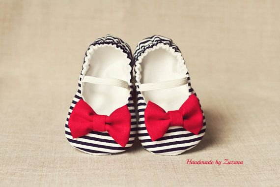 Fabric baby shoes baby girl shoes nautical by handmadebyzuzana- Layla, makenzie, baby Byram... There are a few cuties I could buy these for