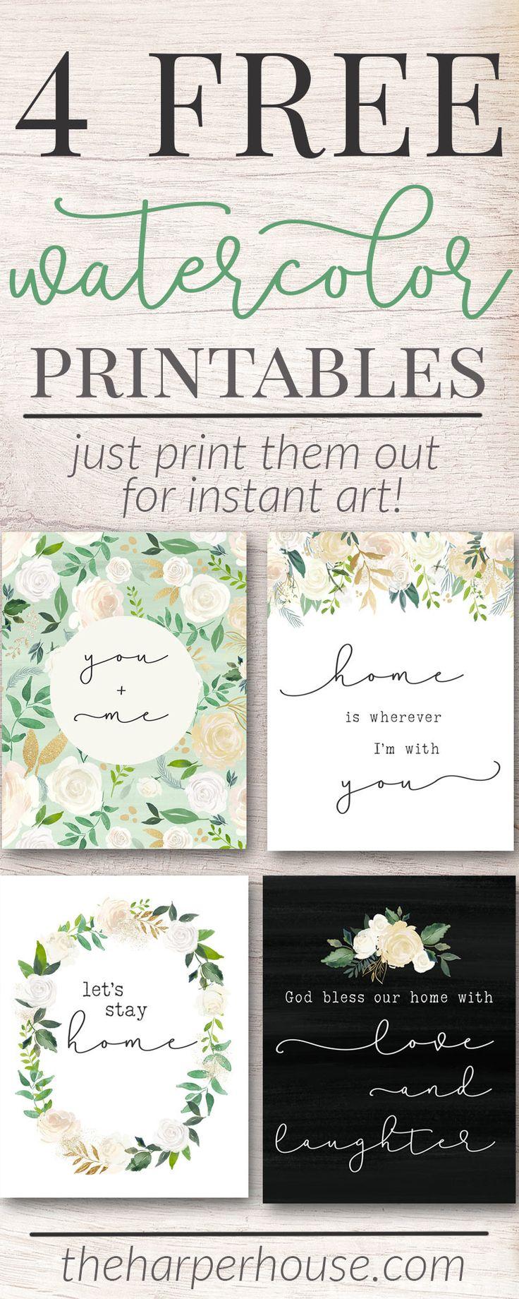 Free Printable Art Prints   watercolor flower prints   instant art   free digital prints   #freeprintable #homedecor #gallerywall #art #farmhousestyle