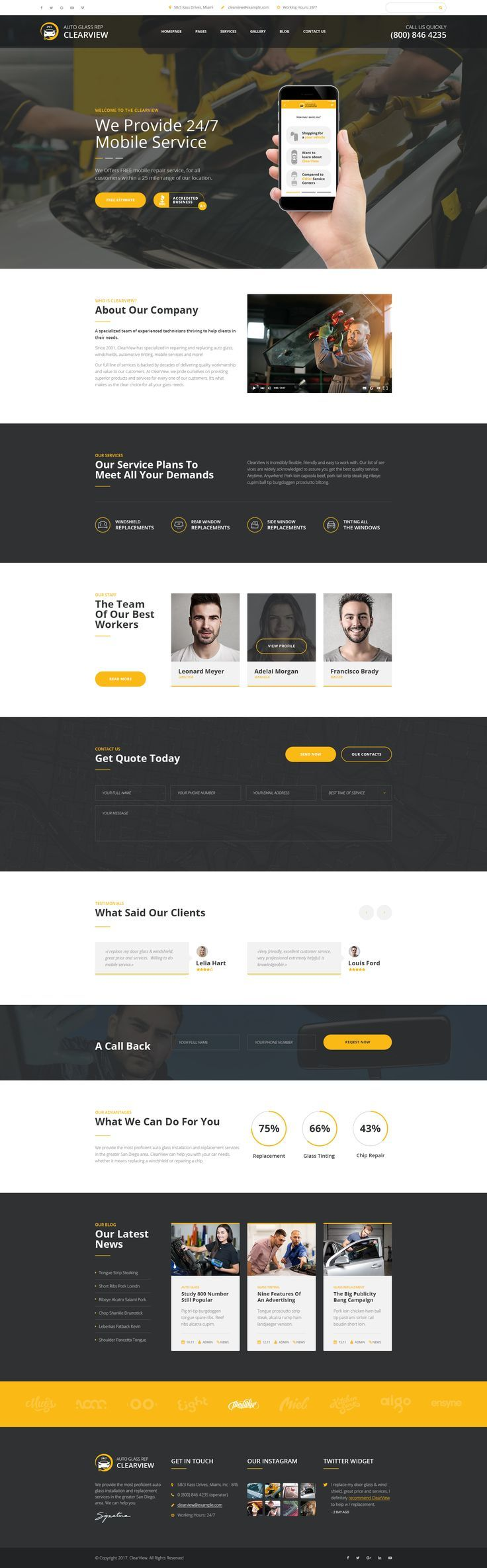 ClearView - Auto Glass Repair, Replacement and Window Tinting PSD Template #auto glass replacement #auto tint #auto window tinting • Download ➝ https://themeforest.net/item/clearview-auto-glass-repair-replacement-and-window-tinting-psd-template/20990885?ref=rabosch