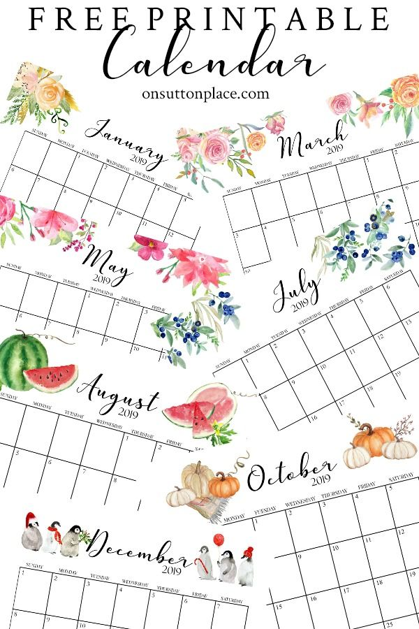 Free Floral 2020 Printable Calendar Free Printable Calendar