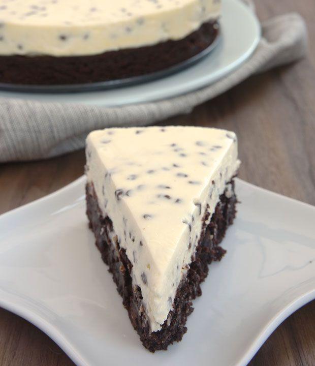 Chocolate Chip Cheesecake with Brownie Crust Recipe - RecipeChart.com