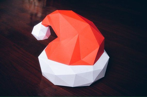 Santa Claus Hat Papercraft Model Diy Template Etsy Paper Crafts Diy Template 3d Paper Art