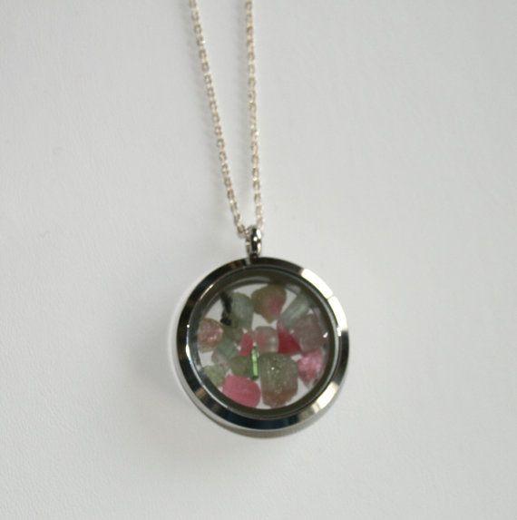 Precious Gemstone Tourlmaline Necklace, Living Locket, Floating Locket, Glass Locket, Friendship Necklace, Silver Necklace