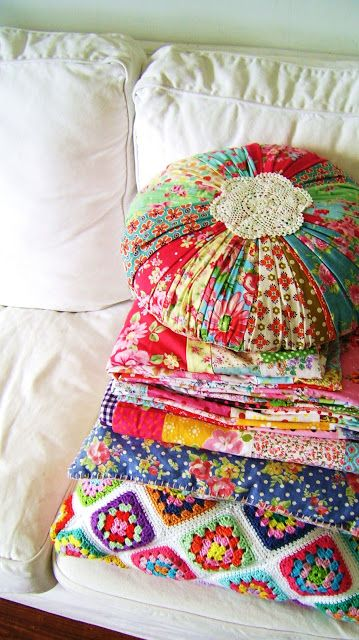 Pile of happiness! * crochet granny square afghan, quilt in bright colors, scrap fabric round pillow * bliss!