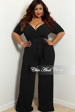 d437e6e3f928 New Plus Size Faux Wrap Bow Front Stripe Jumpsuit in Black White Gold