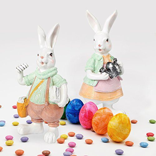 Art Beauty Easter Bunny Decoration Wooden Rabbits Family Figurines Oranment Set of 3 for Shelf Tabletop Ceterpieces Room Kids Gift Easter