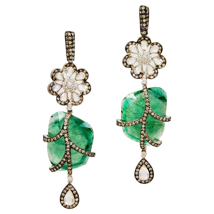 Ornate Emerald Nugget Rose Cut Diamond Earrings