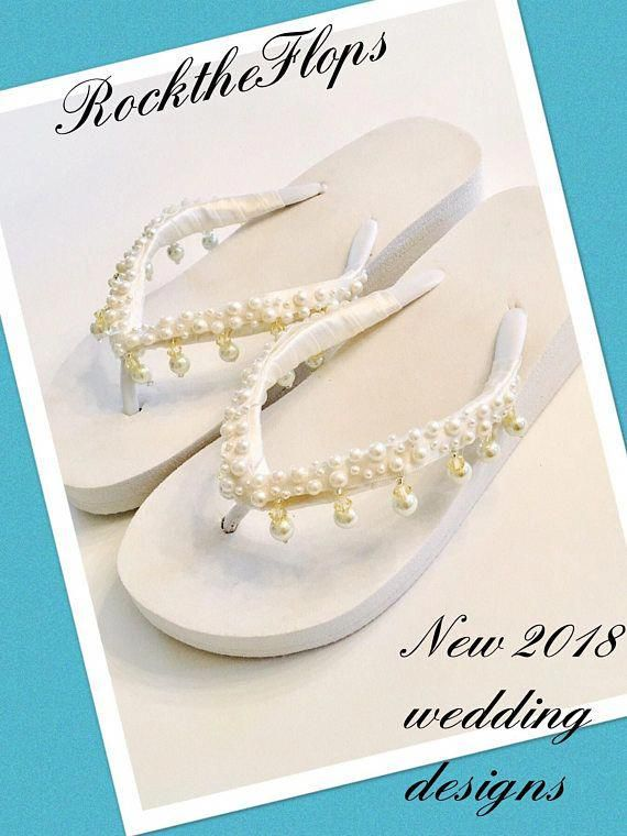 5cb0a35fb Bridal Wedges Flip Flops Bride Shoes Sandals Wedding Flip  sandalswedding