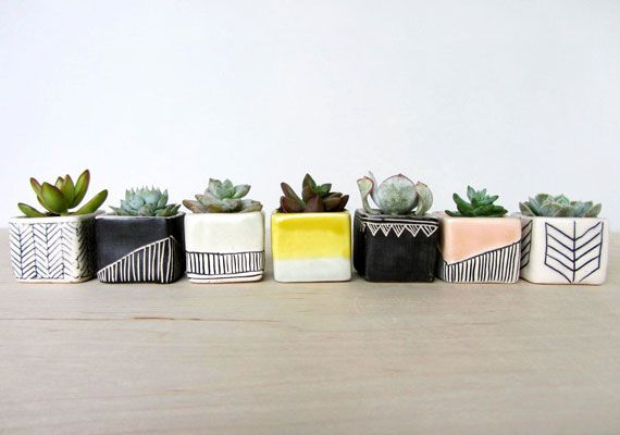 Want to figure out how to do these! ebenotti porcelain succulent planters. via etsy