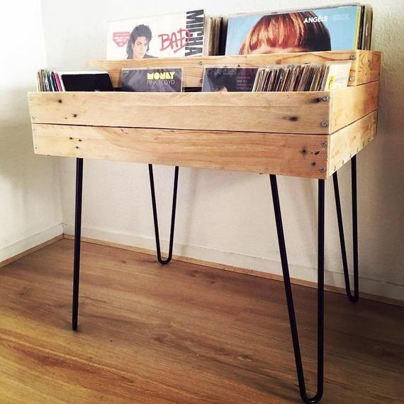 Meuble Vinyles 33 Et 45 Tours En Bois Et Pieds Hairpin Rangement