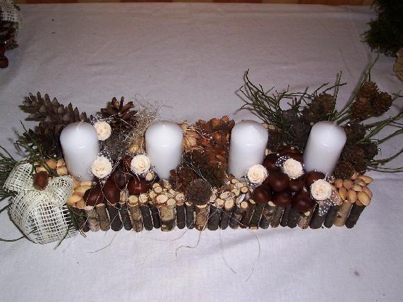 Dekorace - adventní věnec - vyrobeno z přírodnin