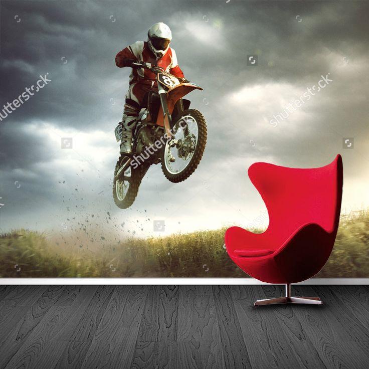 Fotobehang Crossmotor   Maak het jezelf eenvoudig en bestel fotobehang voorzien van een lijmlaag bij YouPri om zo gemakkelijk jouw woonruimte een nieuwe stijl te geven. Voor het behangen heb je alleen water nodig!   #behang #fotobehang #print #opdruk #afbeelding #diy #behangen #crossmotor #motor #sport #stoer #jongen #jongenskamer #motor