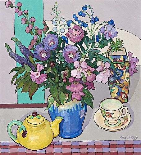 Cottage Flowers with Yellow Teapot -Chriss Canning Australian Artist