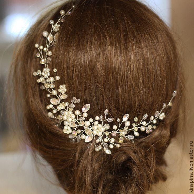 Купить Веточка для свадебной прически невесты. Свадебное украшение, айвори…