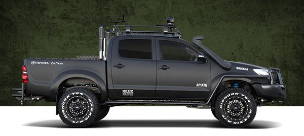 Toyota Hilux Black. If they could bring this toy with its Diesel engine into the states it would sell like hot cakes. Power size and off road capabilities.