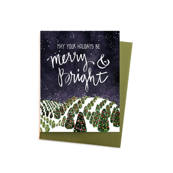 New to anopensketchbook on Etsy: Christmas Card Merry and Bright Fraser Fir Christmas Tree Field Single Holiday Card (4.50 USD)