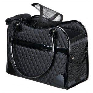Sac de transport pour chien et chat, en polyester et immitation cuir. Avec une laisse de sécurité qui empêche l'animal de sauter. Dimensions : 18 x 29 x 37 cm. Coloris : Noir.