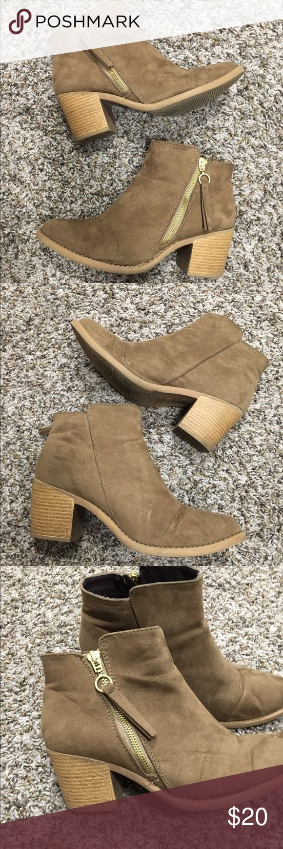 Qupid Tan booties Tan booties. Zippers are on the outside - super cute! Very comfortable. Pre-loved but still in great condition! Qupid Shoes Ankle Boots & Booties