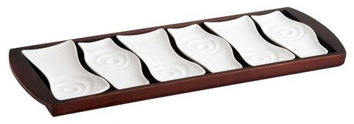 Trudeau Manhattan Set of 6 Appetizer Plates With Serving Tray - contemporary - serveware - - by QVC, Inc.