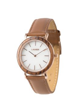 Due to its plain look the delicate watch LAILA is suitable for every life situation. No matter it is leisure time, the office or a dinner with friends. The ochre leather strap harmonizes particularly well with the white marble dial. The case is made of Zebrano wood and the rose golden silhouette rounds off the design. Let yourself be seduced by the minimalist shaping.
