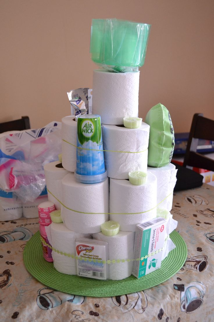 Toilet paper cake made for a gag birthday gift. If done right could be a cool wedding shower or off to college gift just sayin