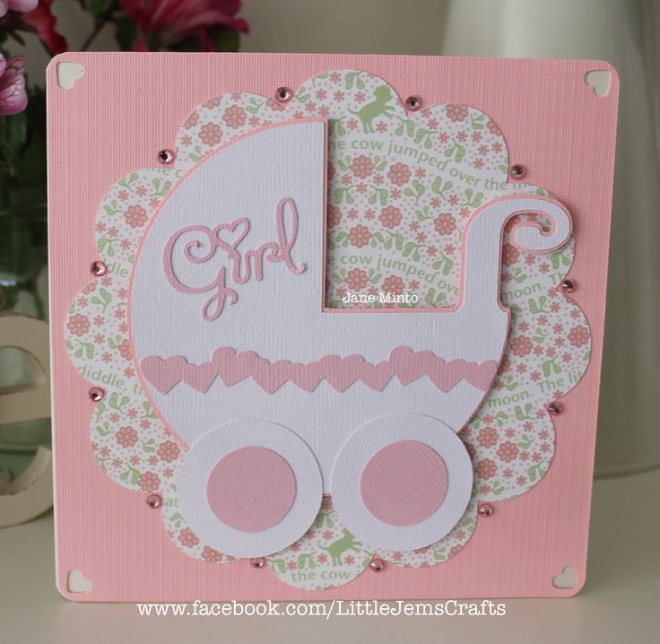 New Baby Girl card. I made a cut file for the pram, using the shapes already stored on the Scan N Cut, the circle is from the SnC too