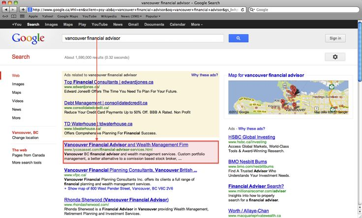 """Our organic #SEO project results. """"Vancouver Financial Advisor"""" & position #1. Check out more information about our: <a href=""""http://www.vandesign.ca/seo/"""">Search Engine Optimization (SEO) services</a> #searchengineoptimization #searchmarketing #digitalmarketing"""