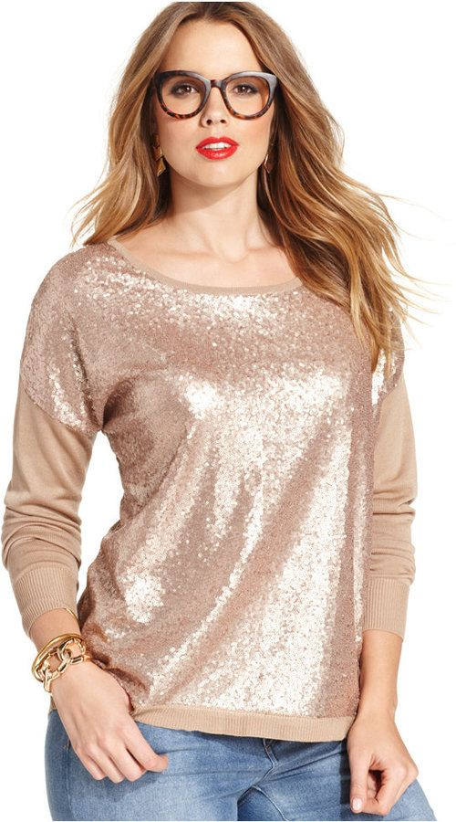 Plus Size Rose Gold Sequin Sweater