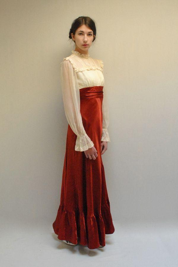Edwardian style dress 70s chiffon dress romantic for 70s style wedding dress
